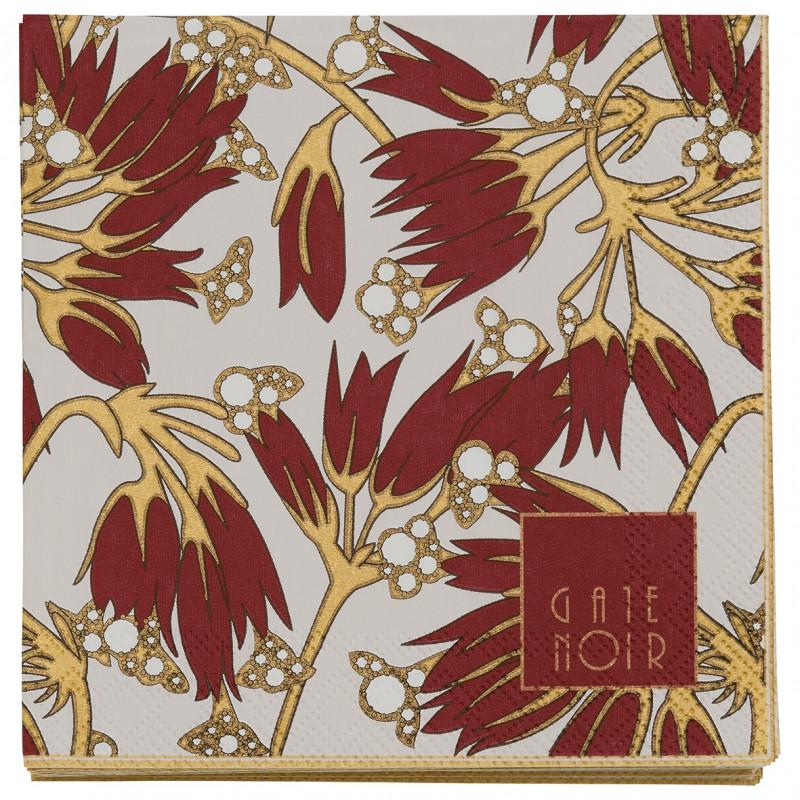 Greengate Servietten Florette bordeaux rot weiß Blumen Gate Noir Papierservietten 12.5 cm mit Goldrand