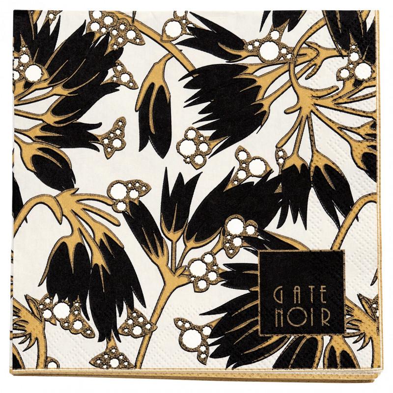 Greengate Servietten Florette schwarz weiß Blumen Gate Noir Papierservietten 12.5 cm mit Goldrand