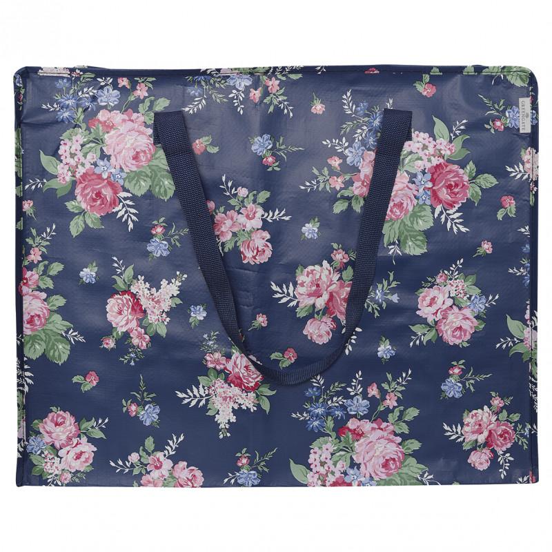 Greengate Tasche Rose dunkelblau mit Blumen Storage Bag PET Kunstoff recycelt Aufbewahrungstasche groß blau