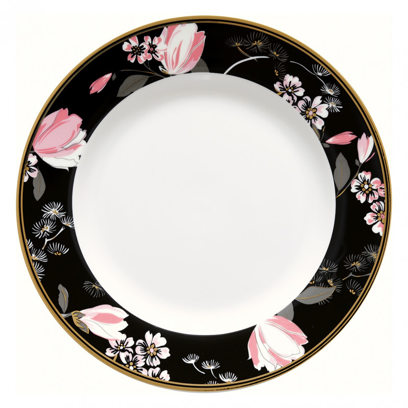 Greengate Teller Amelie schwarz rosa Blumen Gate Noir Porzellan Kuchenteller 20 cm mit Goldrand