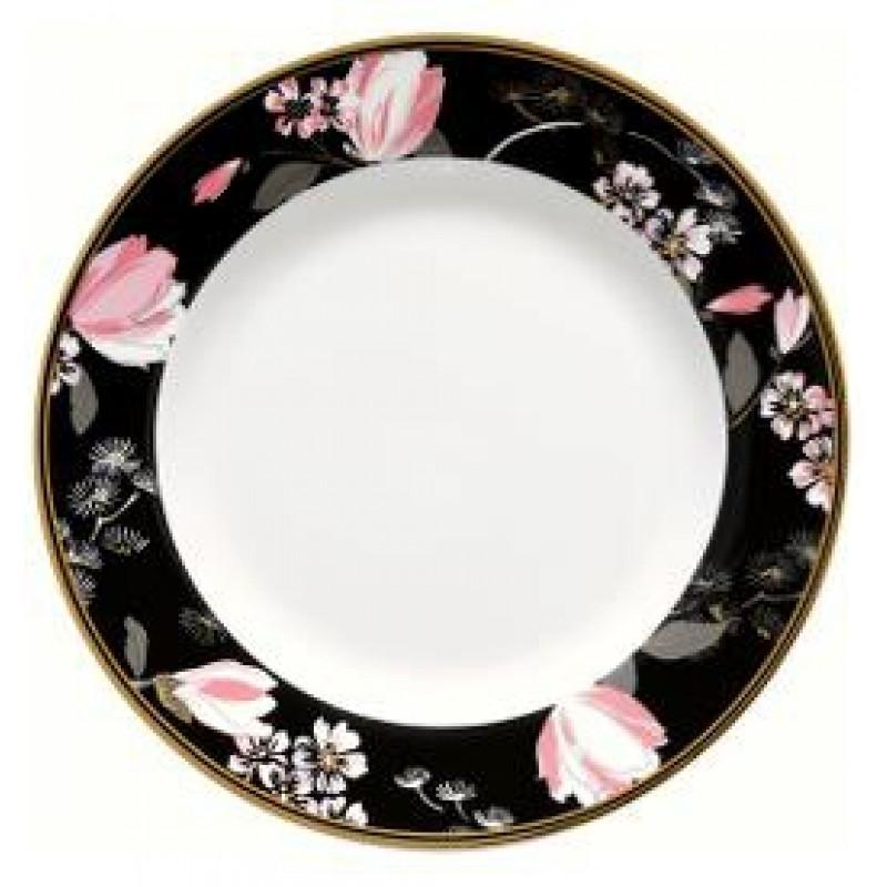 Greengate Teller Amelie schwarz rosa Blumen Muster Gate Noir Geschirr mit Goldrand