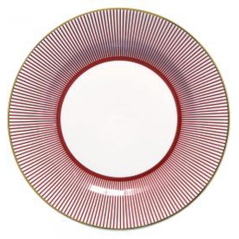 Greengate Teller Corine bordeaux rot Streifen weiß Gate Noir Geschirr mit Goldrand