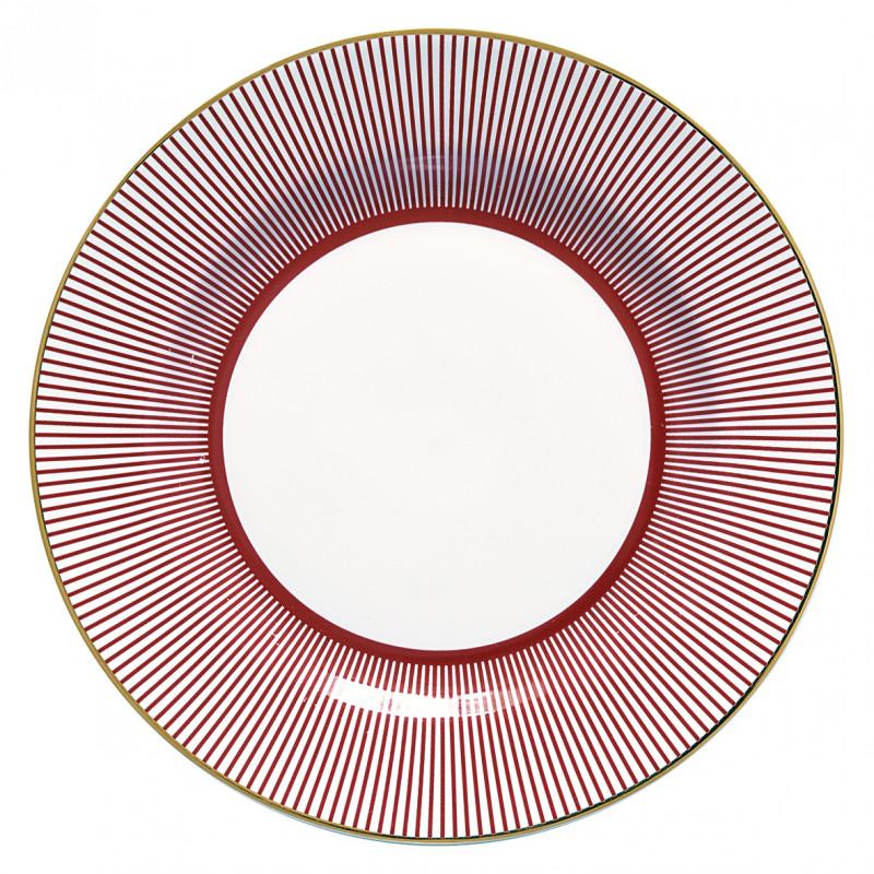 Greengate-Teller-Corine-bordeaux-rot-weiss-Gate-Noir-Porzellan-Kuchenteller-20-cm-mit-Goldrand