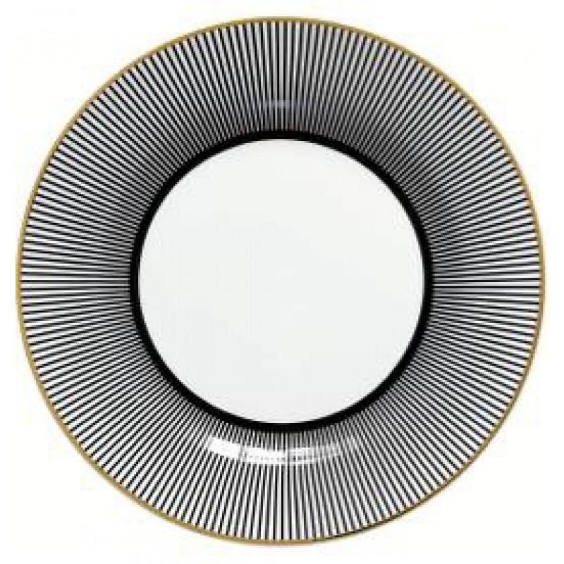 Greengate Teller Corine schwarz Streifen weiß Gate Noir Geschirr mit Goldrand