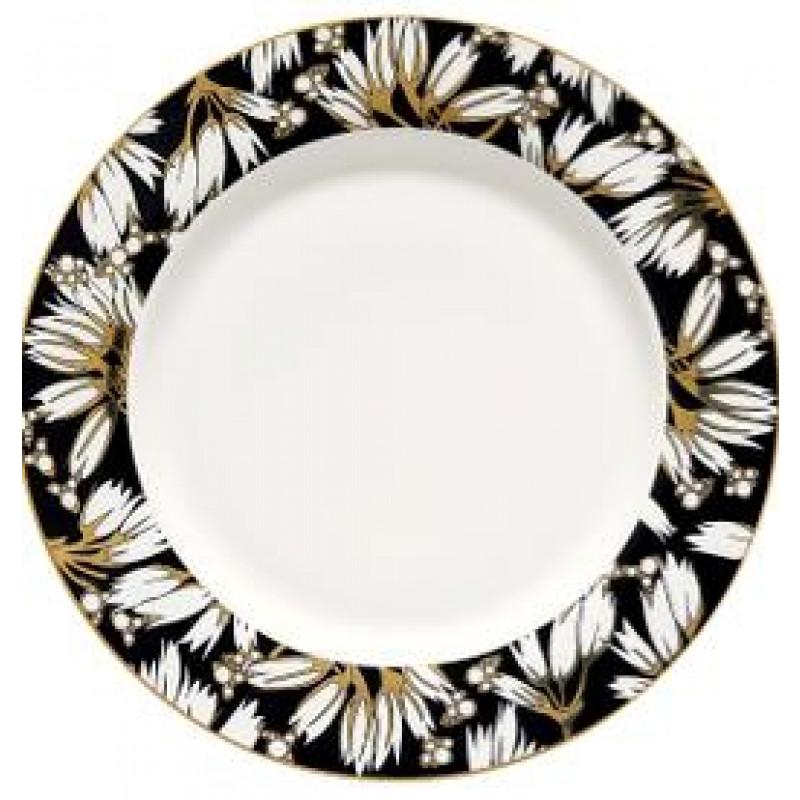 Greengate Teller Florette schwarz mit Blumen Design Gate Noir Essteller mit Goldrand