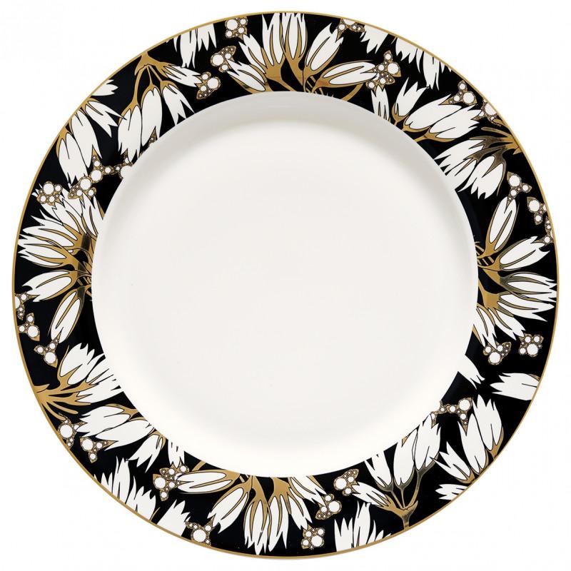 Greengate Teller Florette schwarz weiß Blumen Gate Noir Porzellan Essteller mit Goldrand 25 cm