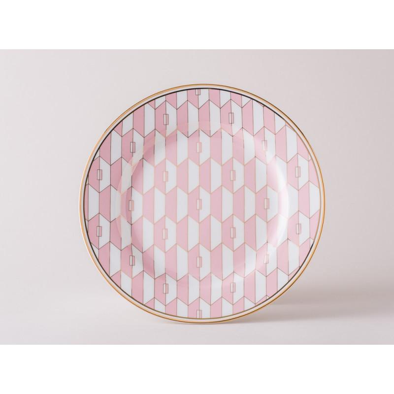 Greengate Teller Gate Noir Aurelie Pale Pink Kuchenteller im Art Deko Design rosa weiß