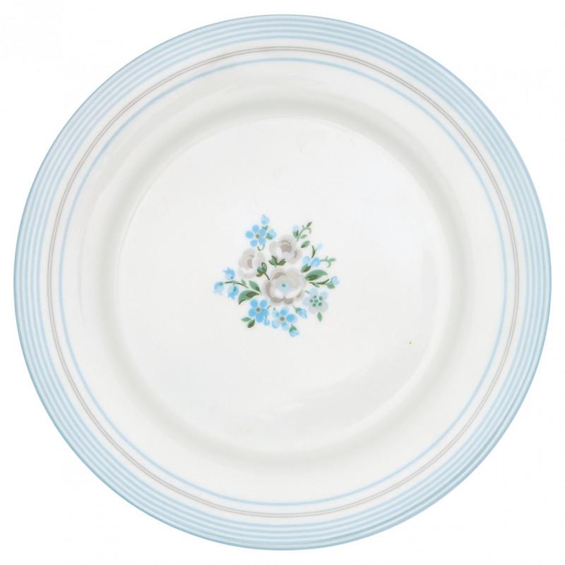 Greengate Teller NICOLINE Weiss Blau Essteller aus Porzellan 26cm Greengate Produkt Nummer STWDINNIC5806