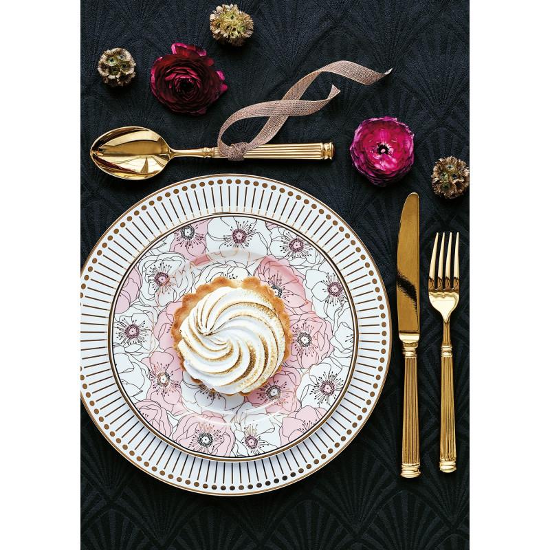 GreenGate Teller Porzellan Flori Pale Pink rosa mit Goldrand Teller Dawn Besteck Gate Noir gold Tischdecke schwarz