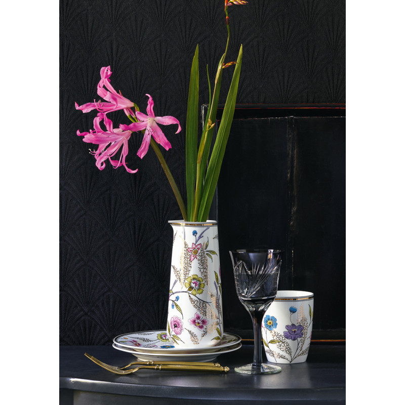 Greengate Tiphanie Krug Latte Cup Becher und Teller weiß mit Blumen Design Floral Gate Noir edles schönes Geschirr mit Goldrand aus Porzellan