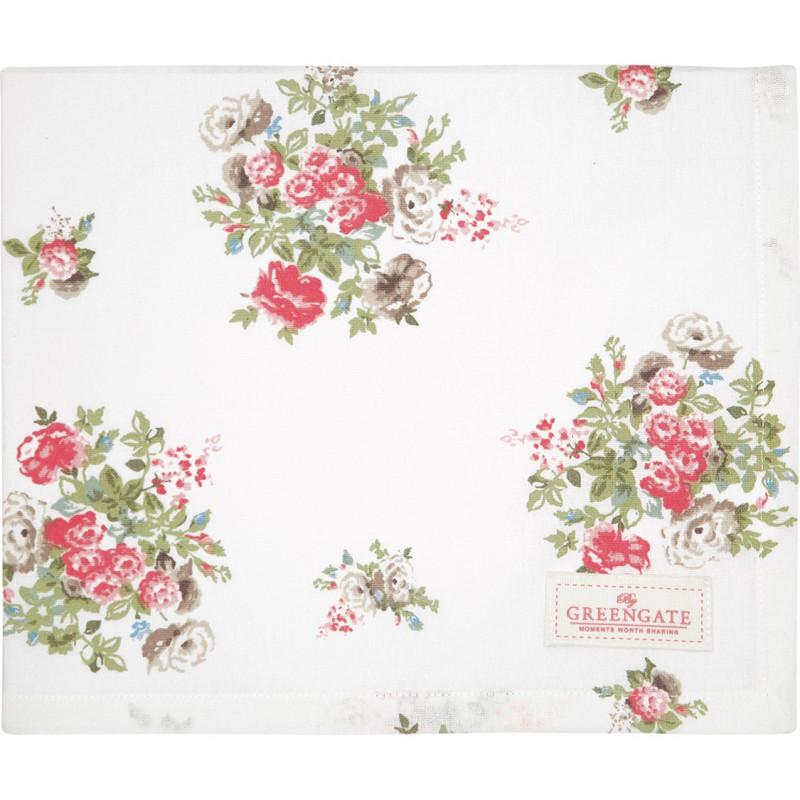 Greengate Tischdecke PETRICIA Weiss Blumen Baumwolle Tischtuch 100x100 cm Greengate Produkt Nr COTTAB100PET0102