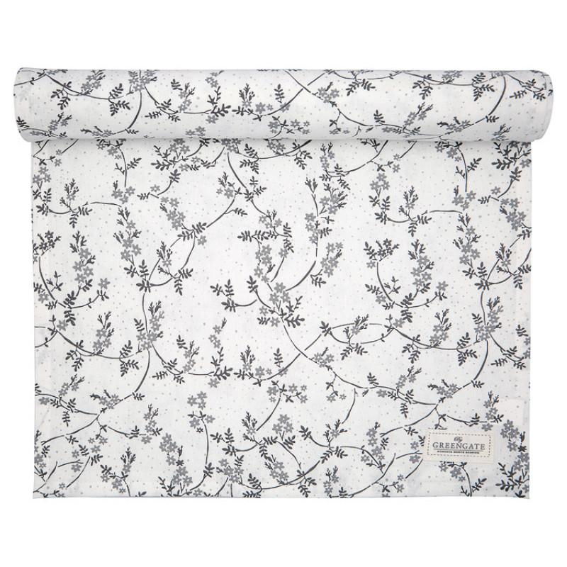 Greengate Tischläufer AMIRA Weiss Grau Blumen Baumwolle Tischdecke 45x140 cm GG Produkt Nr COTTAR140AMR0104