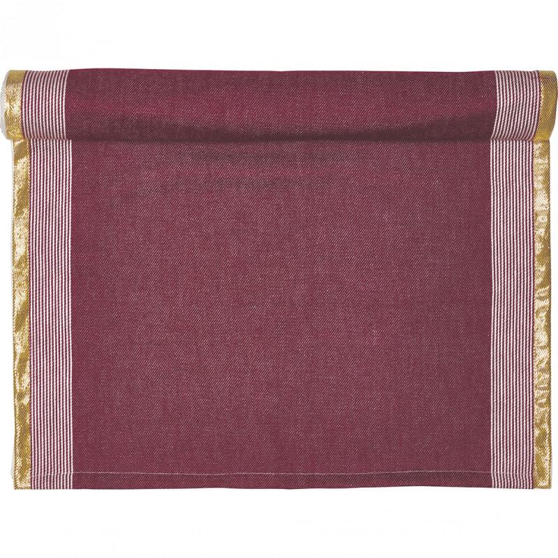 Greengate Tischläufer Corine bordeaux rot gold Gate Noir Tischdecke aus Baumwolle mit Goldstreifen 50x150 cm