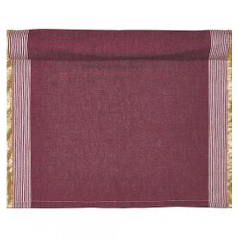Greengate Tischläufer Corine bordeaux rot gold Streifen weiß Gate Noir Tischdecke aus Baumwolle mit Goldstreifen