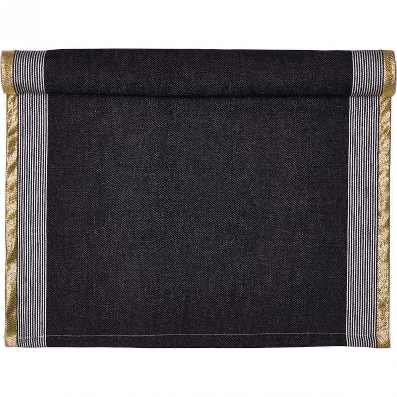 Greengate Tischläufer Corine schwarz gold Gate Noir Tischdecke aus Baumwolle mit Goldstreifen 50x150 cm