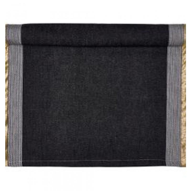Greengate Tischläufer Corine schwarz gold Streifen weiß Gate Noir Tischdecke aus Baumwolle mit Goldstreifen