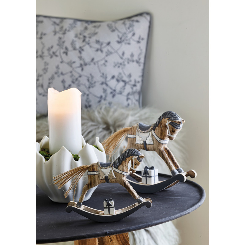 Greengate TULIP Kerzenhalter und Schale Weiss aus Keramik in Tulpen Form mit Schaukelpferdchen