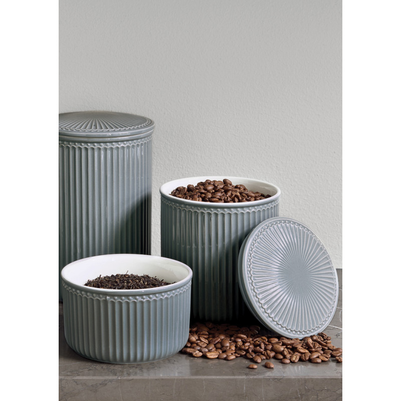 Greengate Vorratsdose Alice Dose mit Deckel aus Keramik Stone Grey Klein Medium und Gross 1250 ml 2100 ml und 3000 ml Geschirr Aufbewahrungsdose Hygge in der Küche