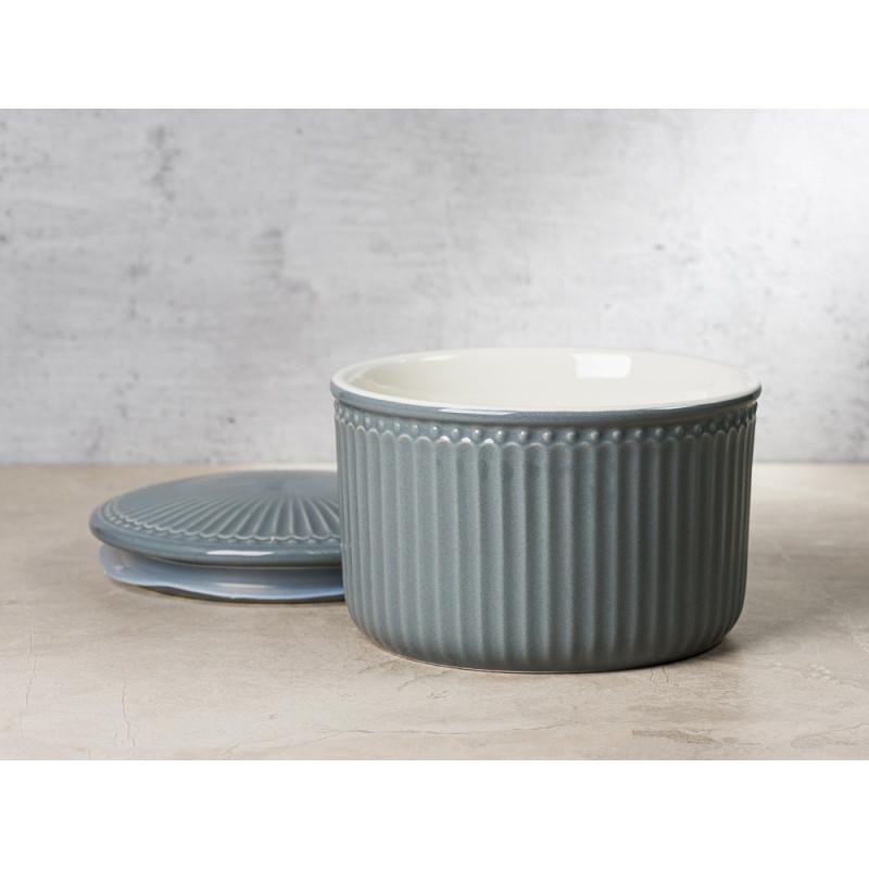 Greengate Vorratsdose Alice Dose mit Deckel Grau Klein 13x9 cm 1250 ml Everyday Keramik Stone Grey