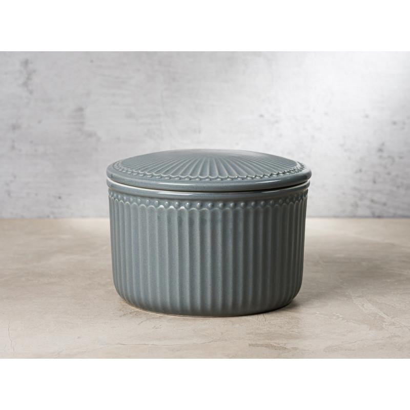 Greengate Vorratsdose Alice Dose mit Deckel Grau Klein 13x9 cm 1250 ml Geschirr aus Keramik Stone Grey Rillenmuster Hygge für jeden Tag