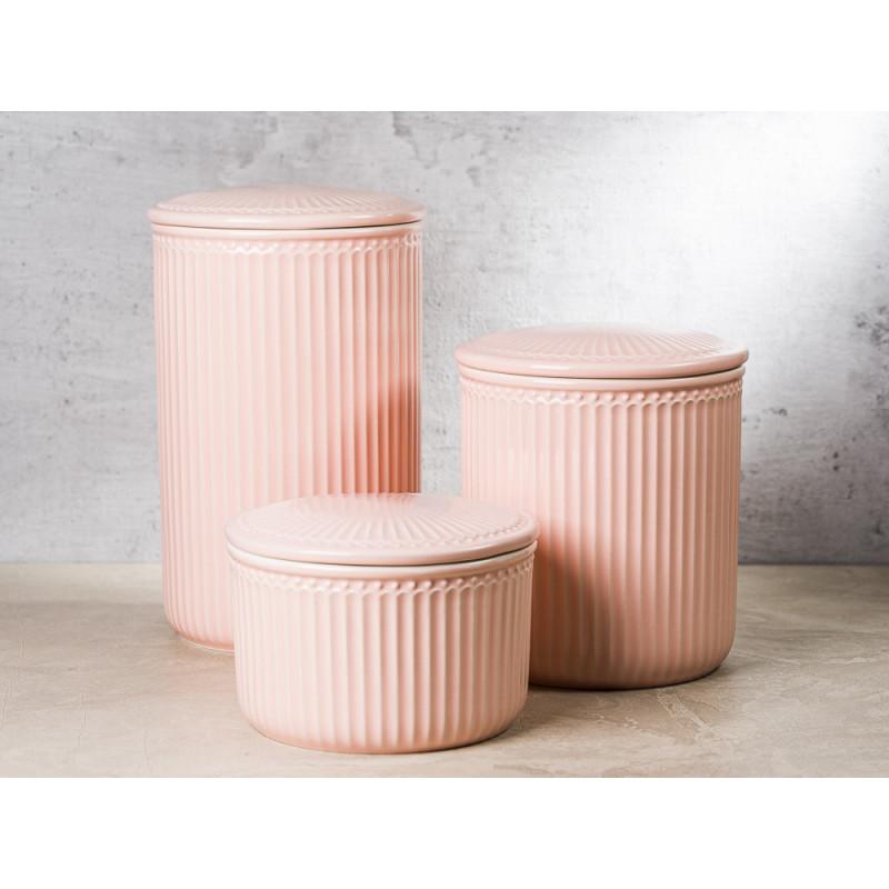 Greengate Vorratsdose Alice Dose mit Deckel Rosa Gross Mittel Klein Everyday Geschirr aus Keramik mit Dichtung Pale Pink Gruppe