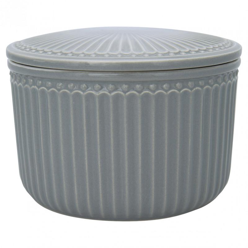 Greengate Vorratsdose Alice Dose mit Deckel Stone Grey Klein 9x13 cm 1250 ml Keramik Geschirr Grau Greengate Produkt Nr STWSTJASALI8204