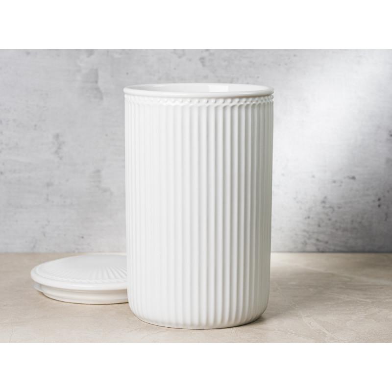 Greengate Vorratsdose Alice Dose mit Deckel Weiss Gross 13x21 cm 3000 ml Everyday Keramik White