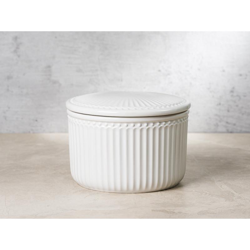 Greengate Vorratsdose Alice Dose mit Deckel Weiss Klein 13x9 cm 1250 ml Geschirr aus Keramik White Rillenmuster Hygge für jeden Tag