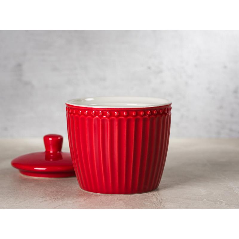 Greengate Zuckerdose mit Deckel ALICE Rot Everyday Keramik Geschirr