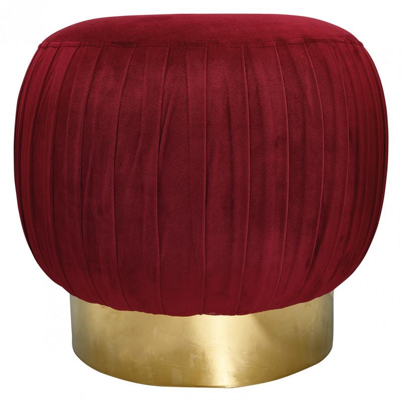 Grosser Greengate Hocker aus Samt Bordeaux Rot mit Gold Fuß Gate Noir Pouf 47 cm