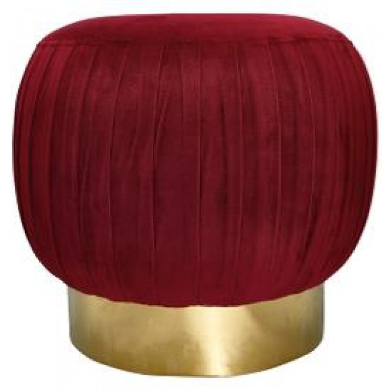 Grosser Greengate Hocker aus Samt Bordeaux Rot mit Gold Gate Noir Pouf