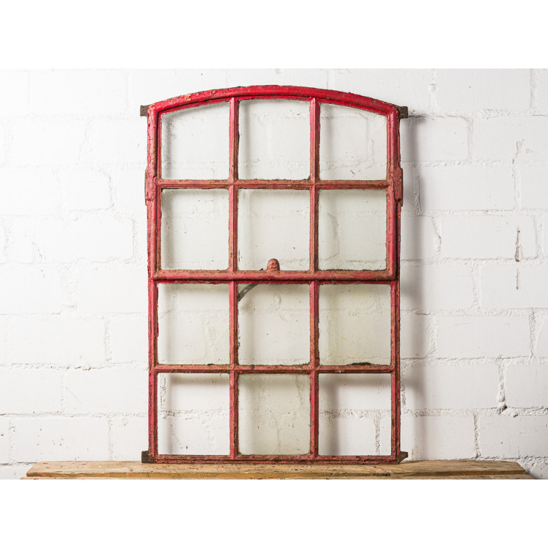 Großes antikes Stallfenster Metall Patina Rot mit Rundbogen 66x95 cm groß Kippfenster zum Öffnen Deko Objekt Unikat Model WW-289