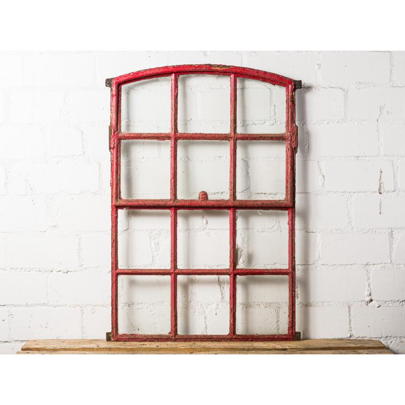 Großes Stallfenster Antik aus Metall rot mit Rundbogen 67x95 cm groß Kippfenster zum Öffnen Deko Objekt Unikat Model WW-279
