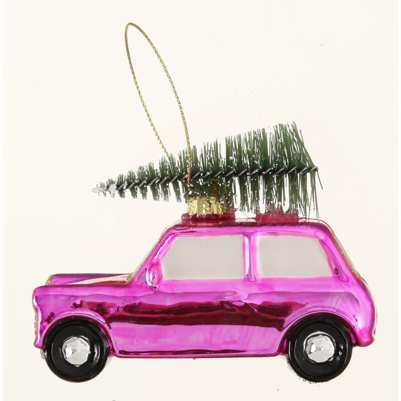 Hänger Auto mit Baum auf Dach rosa pink glänzend aus Glas Weihnachstdeko hängend