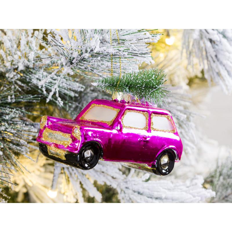 Hänger Auto mit Baum auf Dach rosa pink glänzend aus Glas Weihnachstdeko zum hängen Baumschmuck Weihnachten