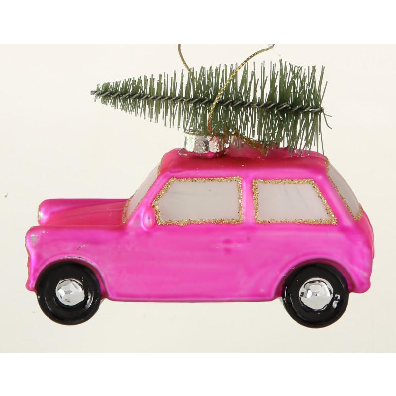 Hänger Auto mit Baum auf Dach rosa pink mattiert aus Glas Weihnachstdeko zum hängen