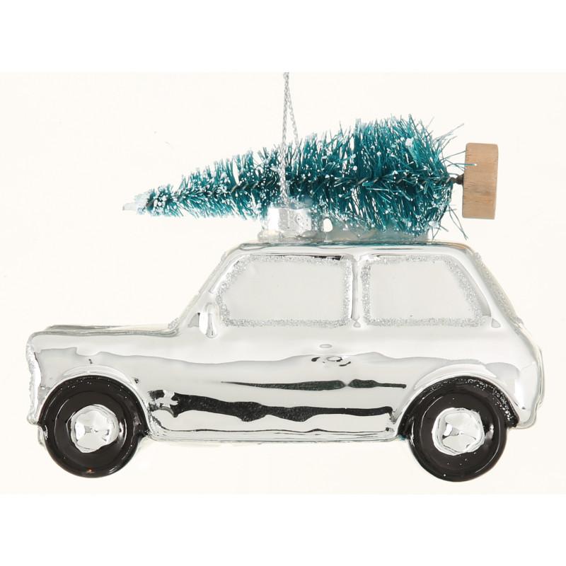 Haenger Auto mit Baum auf Dach silber aus Glas Weihnachstdeko hängend