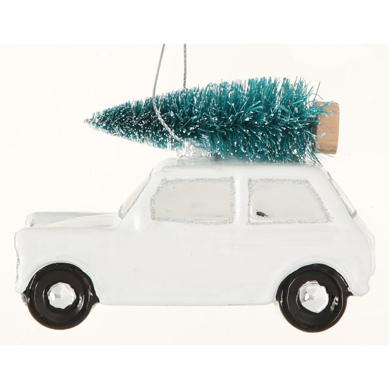 Haenger Auto mit Baum auf Dach weiß aus Glas Weihnachstdeko zum hängen vintage