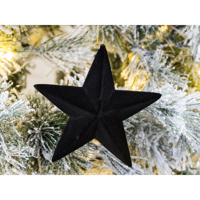 Hänger Stern Samt Schwarz mit 5 Zacken Weihnachstdeko zum hängen 12 cm Tannenbaumschmuck Baumschmuck