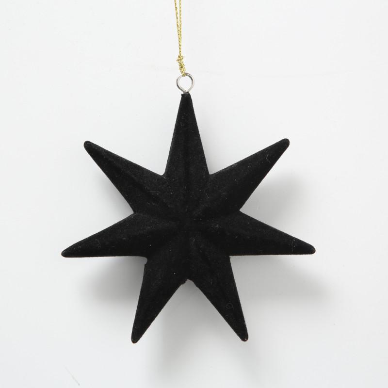 Hänger Stern Samt Schwarz mit 7 Zacken Weihnachstdeko hängend 12 cm Tannenbaumschmuck