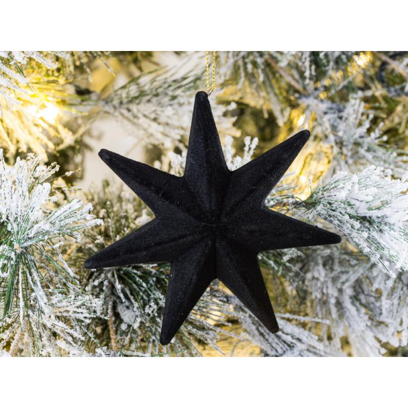 Hänger Stern Samt Schwarz mit 7 Zacken Weihnachstdeko zum hängen 12 cm Tannenbaumschmuck Baumschmuc
