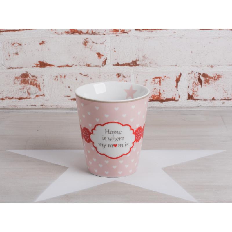 Happy Mug Becher Home is where my Mom is rosa pink mit weißen Herzen und Stern Krasilnikoff