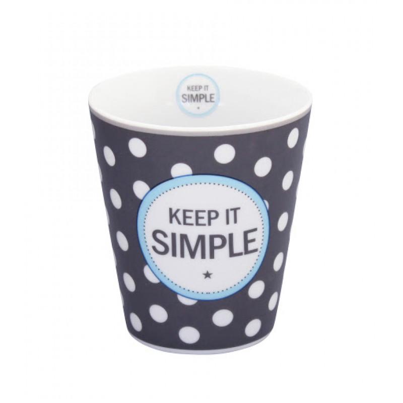 Happy Mug Becher Keep it simple dunkelgrau mit weißen Punkten Krasilnikoff