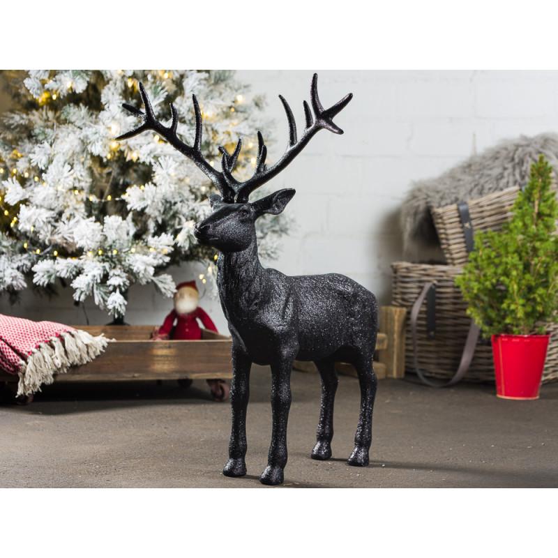 Hirsch Marvin Schwarz glänzend Deko Figur XL Weihnachtsdeko groß 75 cm hoch Advents und Winterdekoration