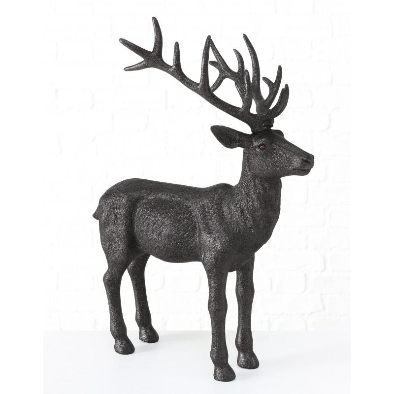 Hirsch Marvin Schwarz Glänzend Deko Figur XL Weihnachtsdeko groß 75 cm hoch