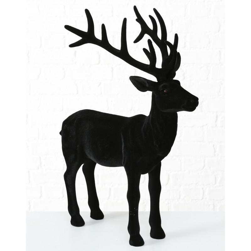 Hirsch Marvin Schwarz Matt Deko Figur XL Weihnachtsdeko groß 75 cm hoch