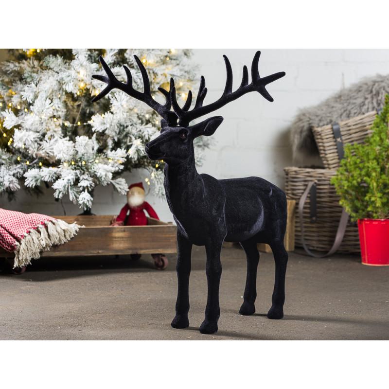 Hirsch Marvin Schwarz Samt Matt Deko Figur XL Weihnachtsdeko groß 75 cm hoch Advents und Winterdekoration