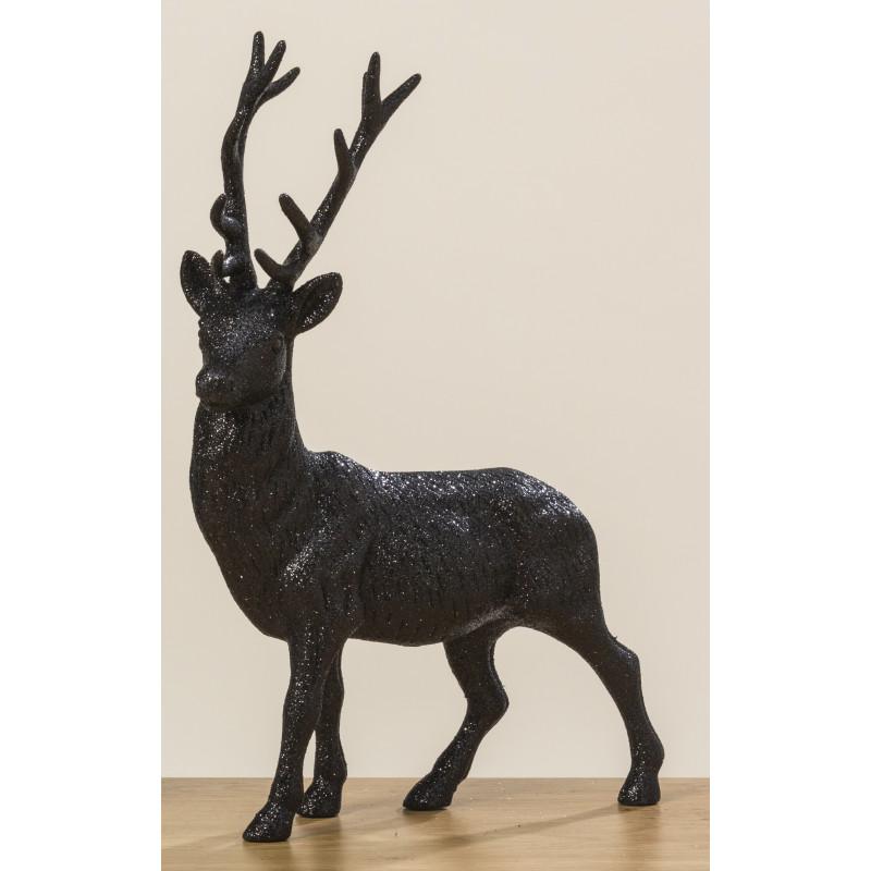 Hirsch Robert Schwarz Glänzend Deko Figur Weihnachtsdeko groß 40 cm