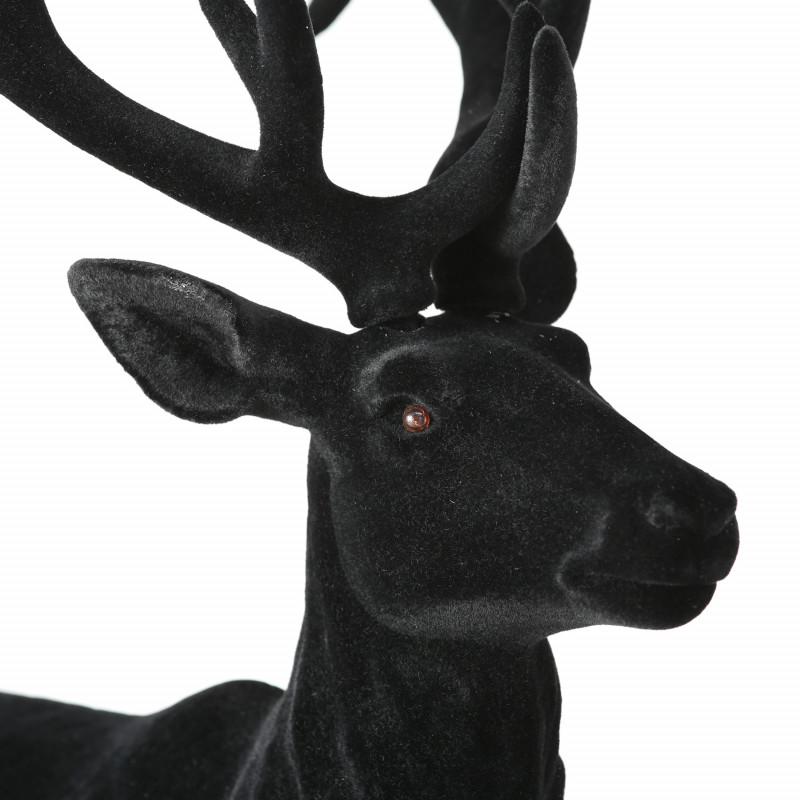 Hirsch XL Marvin Schwarz Matt Deko Figur Weihnachtsdekoration groß 75 cm hoch Geweih und Gesicht im Detail