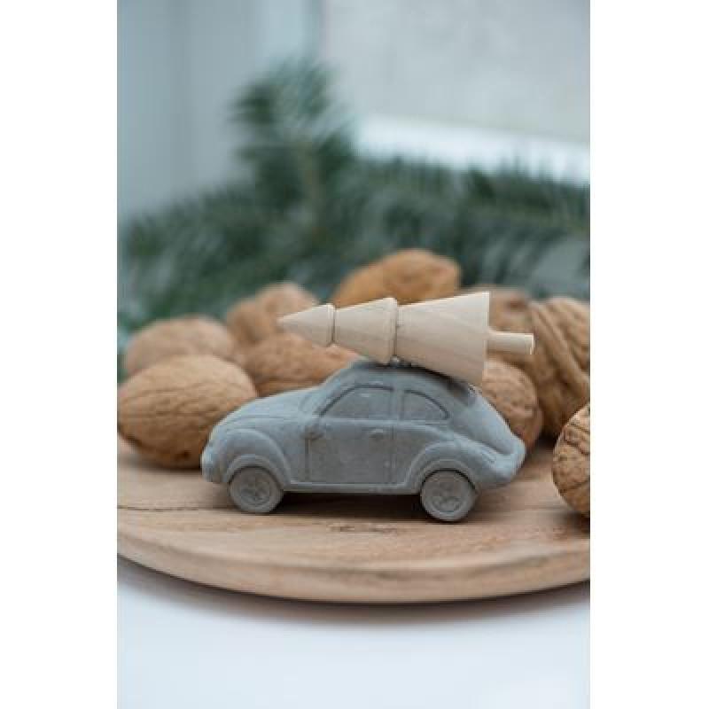 IB Laursen Auto mit Weihnachtsbaum Deko Objekt aus Beton klein